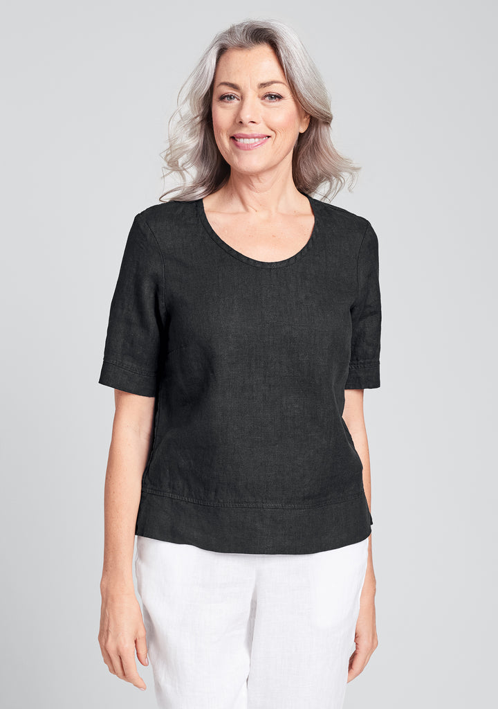 linear crop linen shirt black