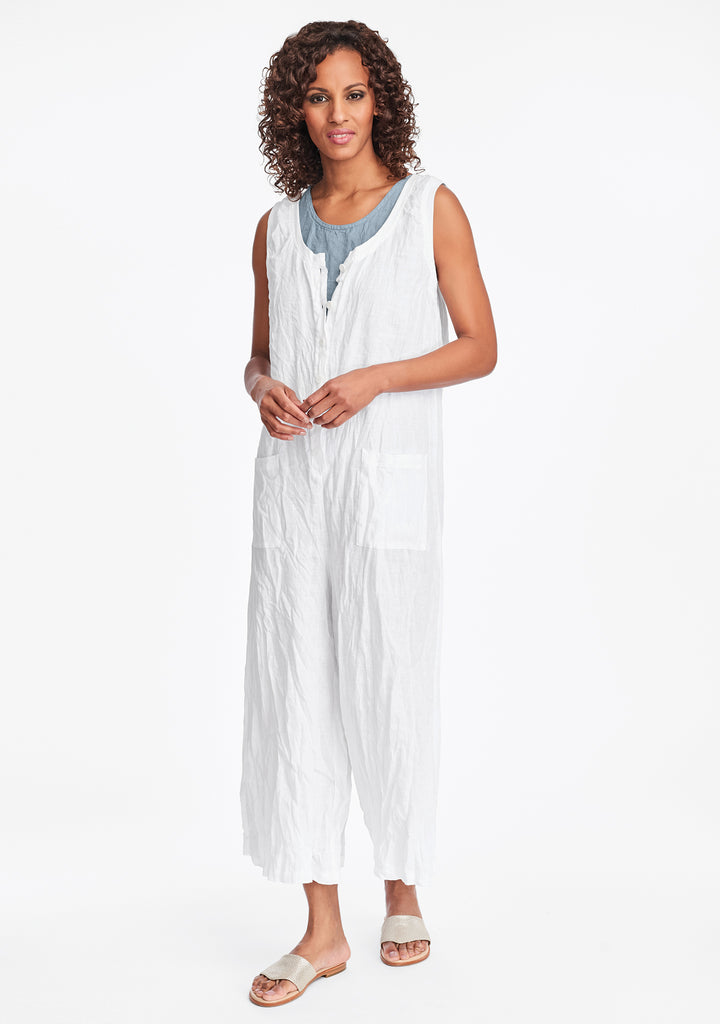 live in jumpsuit linen jumpsuit white
