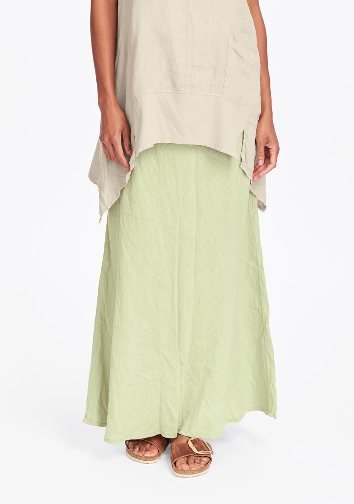 live in skirt linen maxi skirt green