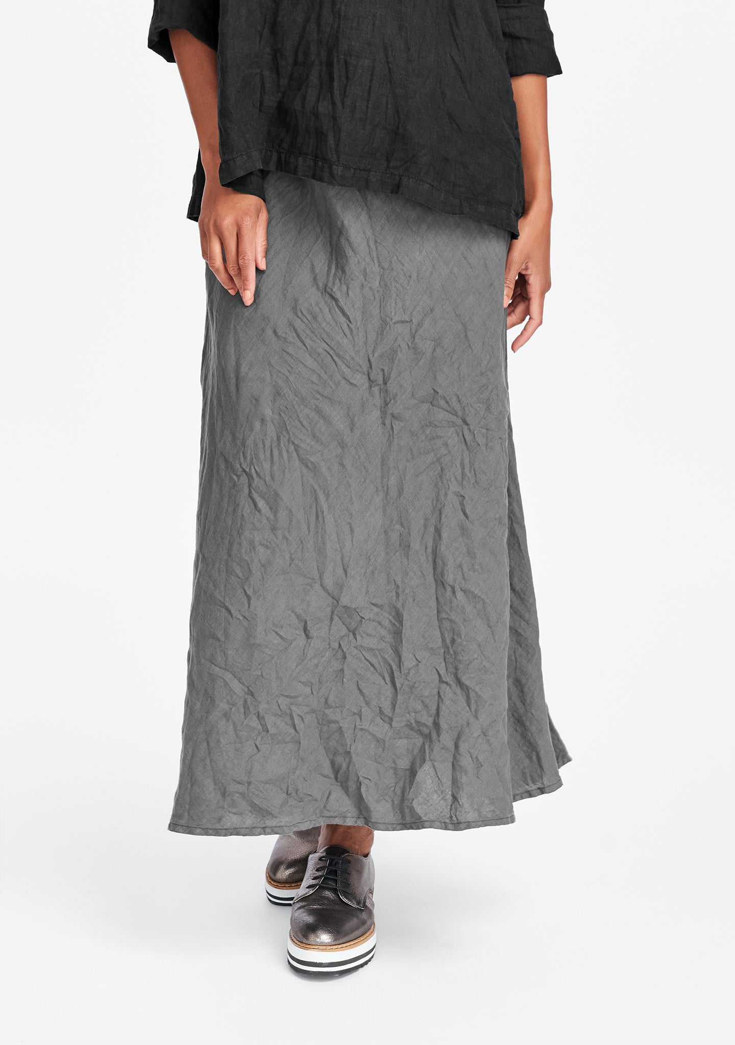live in skirt linen maxi skirt grey