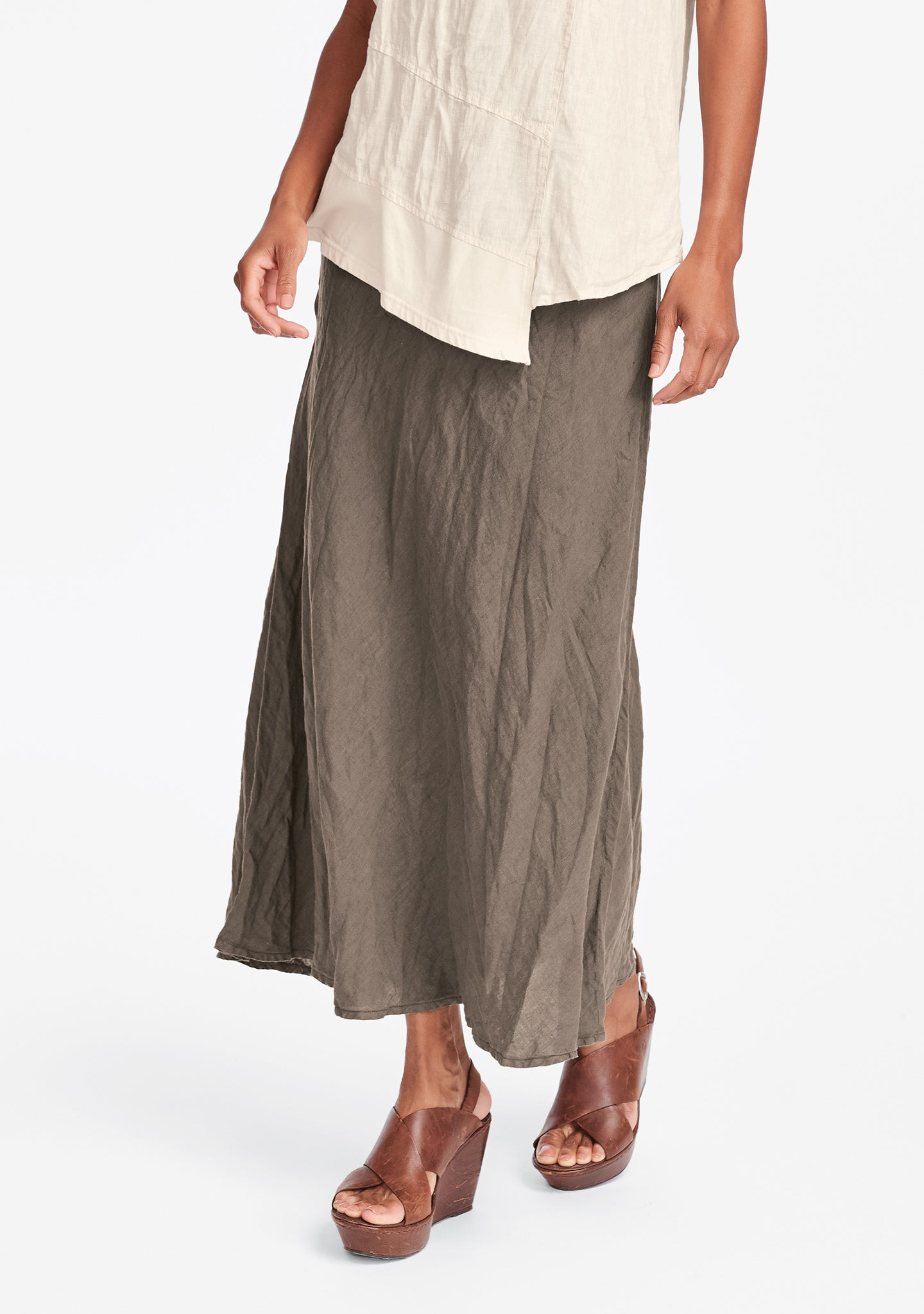 live in skirt linen maxi skirt brown