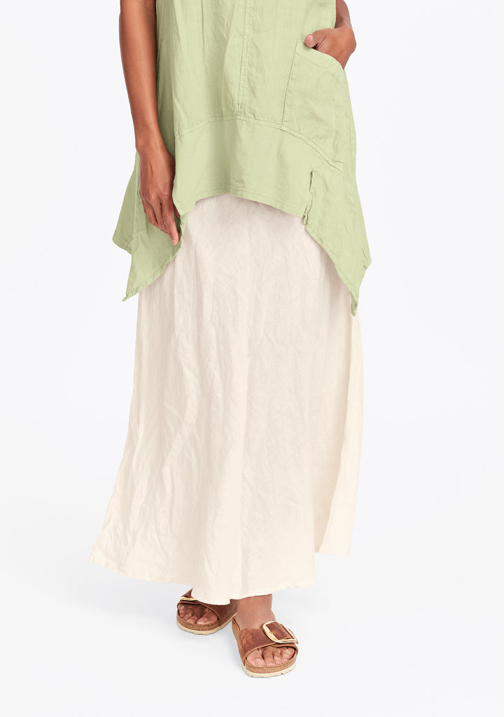 live in skirt linen maxi skirt white