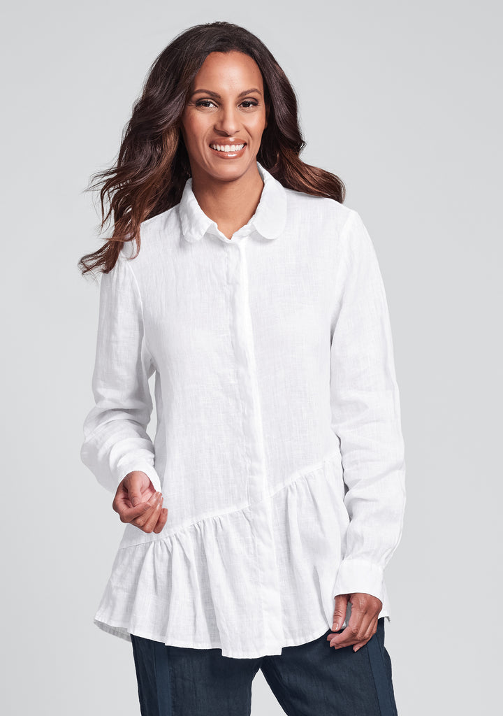 lola shirt linen button down shirt white
