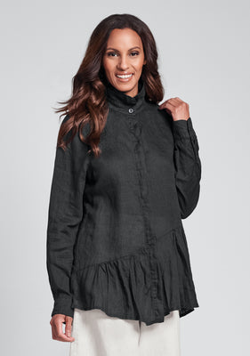 lola shirt linen button down shirt black