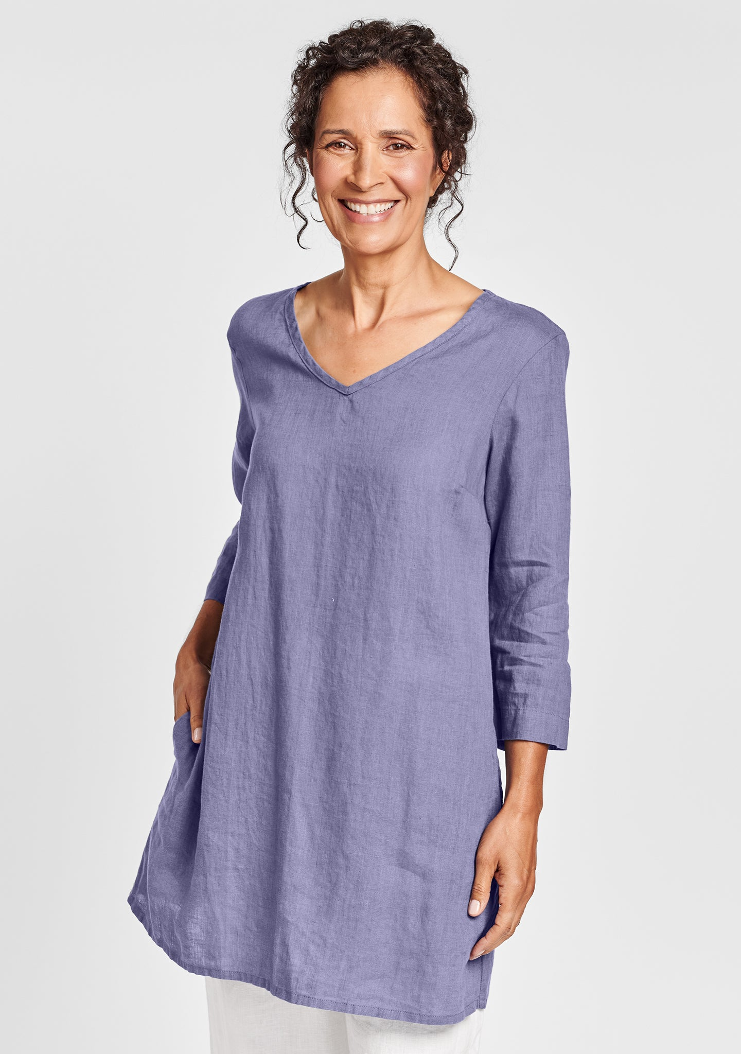 long and easy pull linen shirt purple