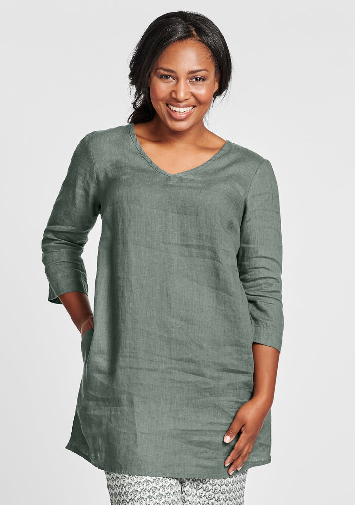 long and easy pull linen shirt green