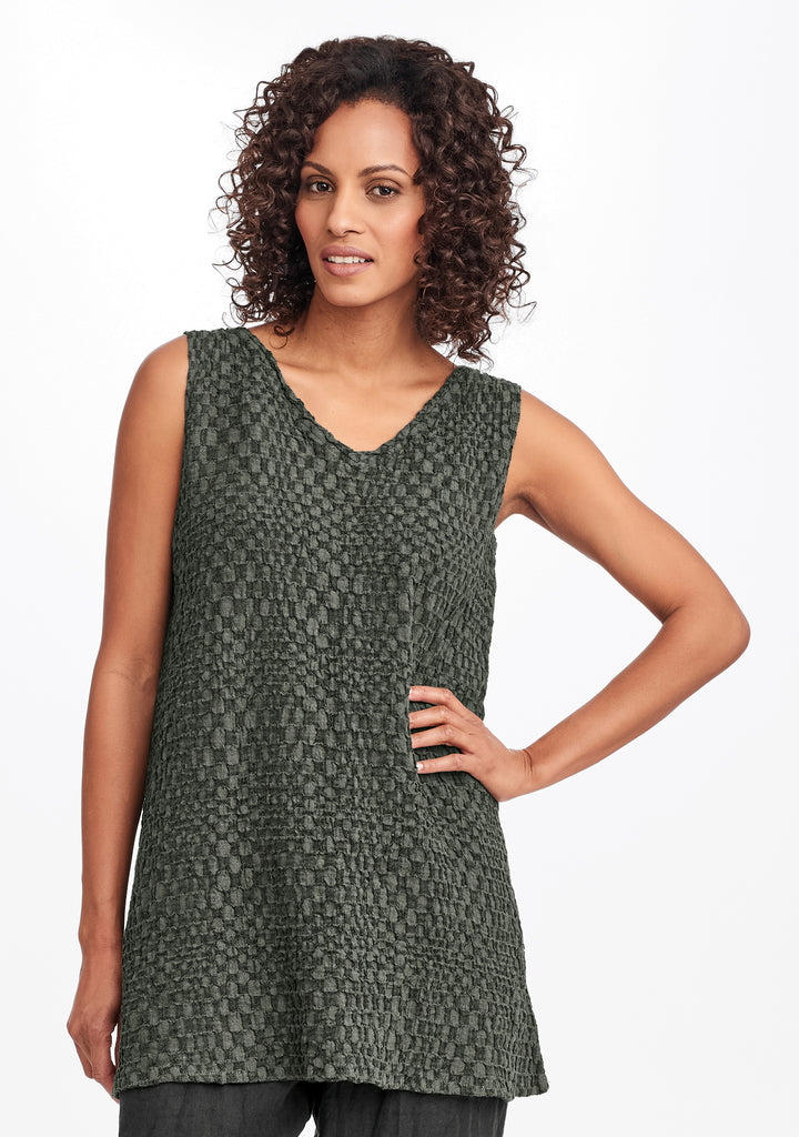 long v-neck tank green