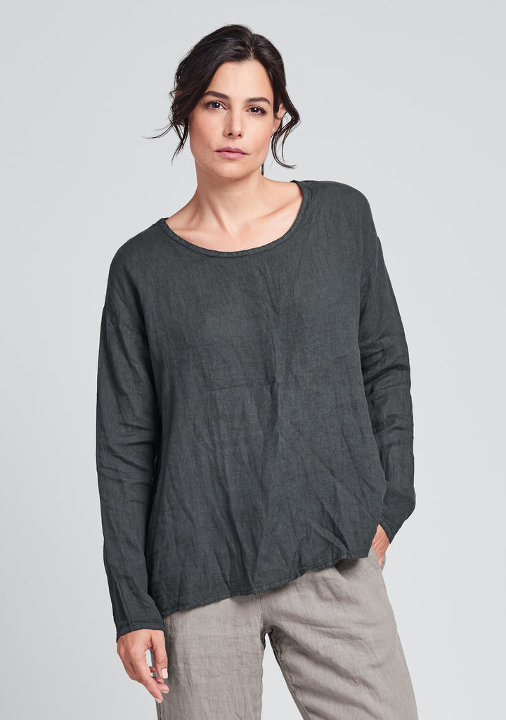 lunar top long sleeve linen shirt black