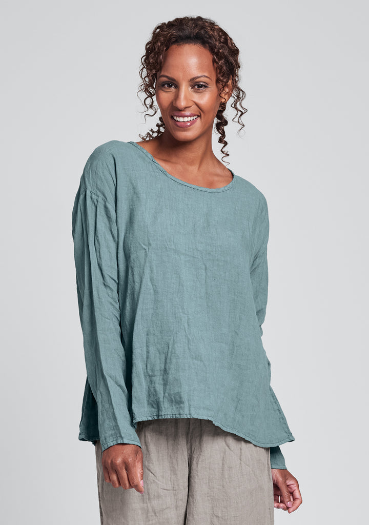 lunar top long sleeve linen shirt green