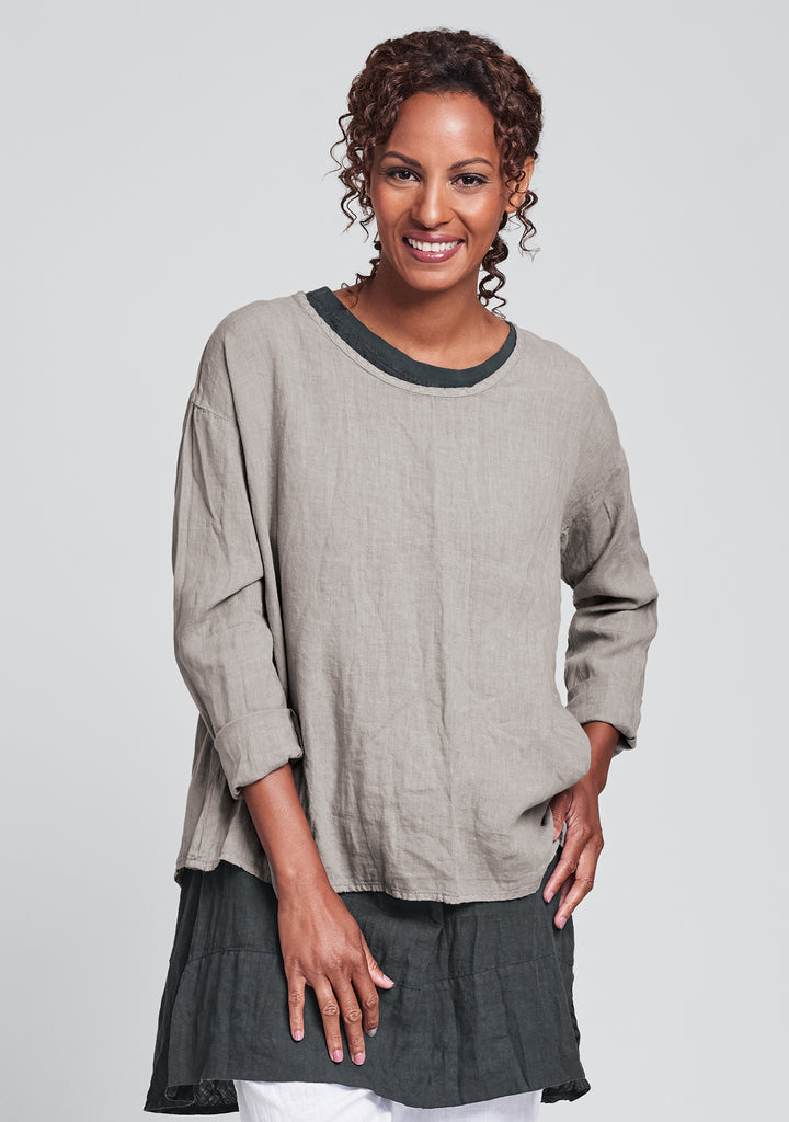 lunar top long sleeve linen shirt natural