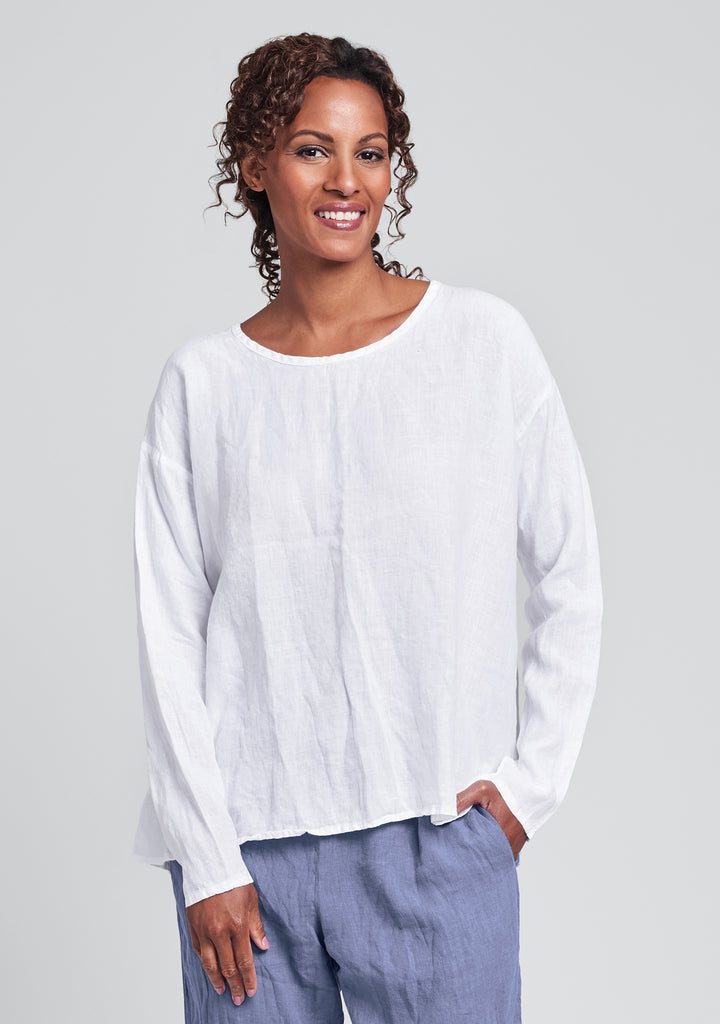 lunar top long sleeve linen shirt white
