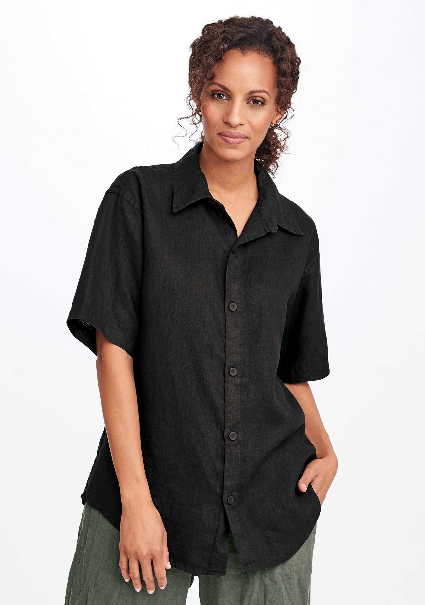 mens short sleeve shirt black
