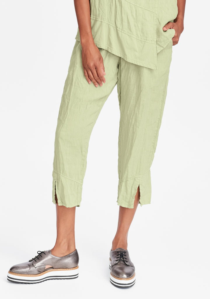 metro crop linen crop pants green
