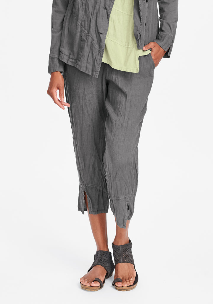 metro crop linen crop pants grey