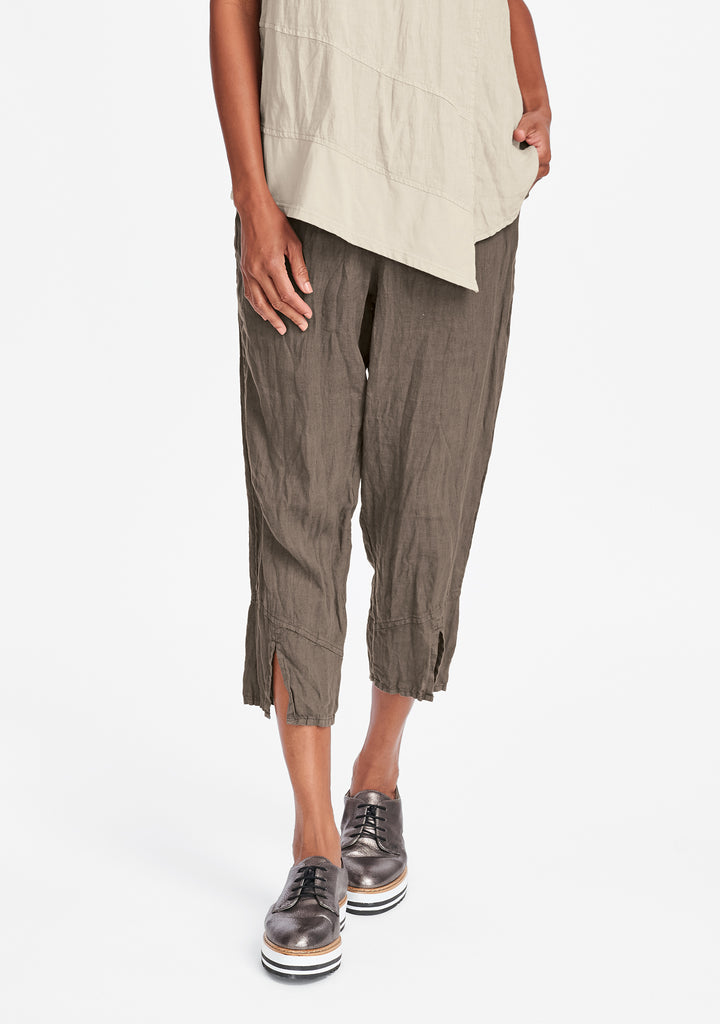 metro crop linen crop pants brown