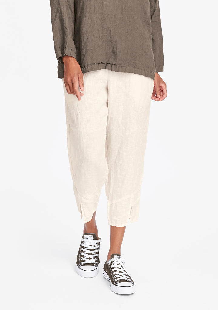 metro crop linen crop pants white