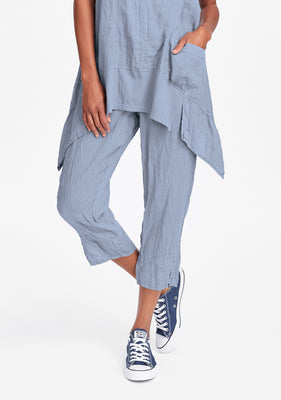metro crop linen crop pants blue