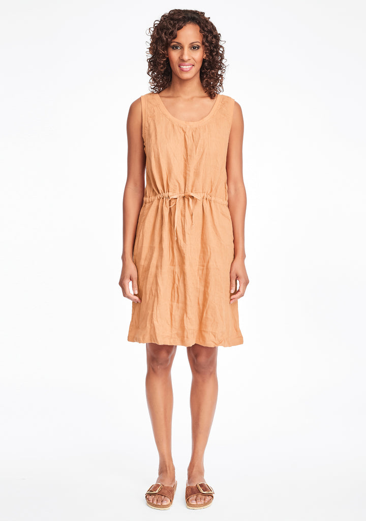 metro dress linen summer dress orange