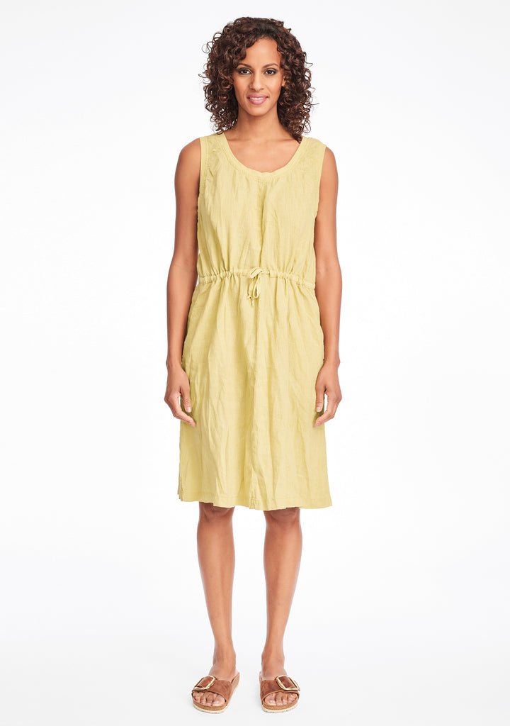 metro dress linen summer dress yellow