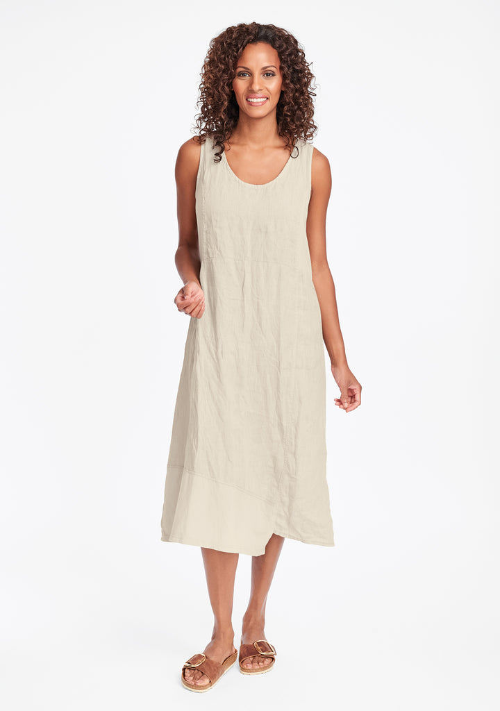 midtown dress linen midi dress natural