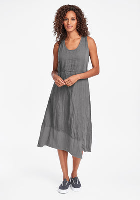 midtown dress linen midi dress grey