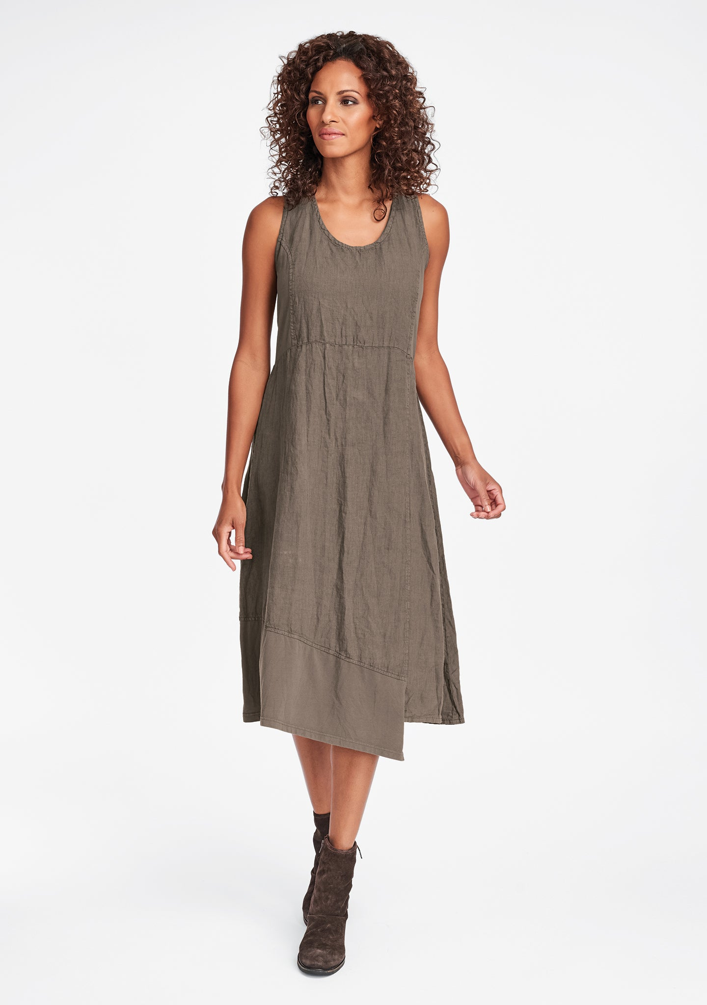 midtown dress linen midi dress brown