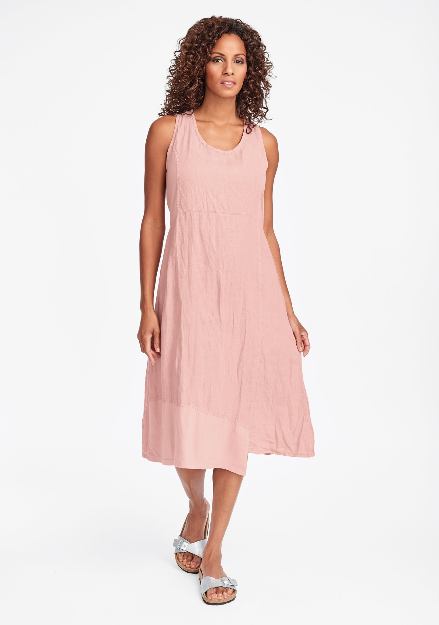 midtown dress linen midi dress pink