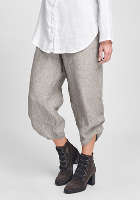 multi facet pant linen pants brown