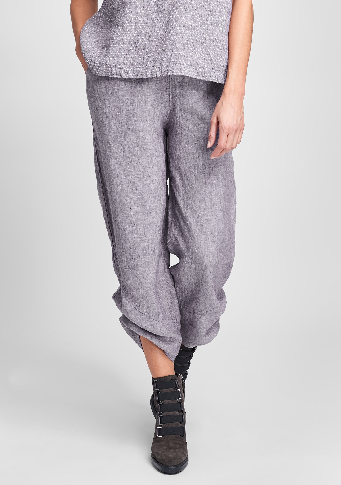 multi facet pant linen pants purple