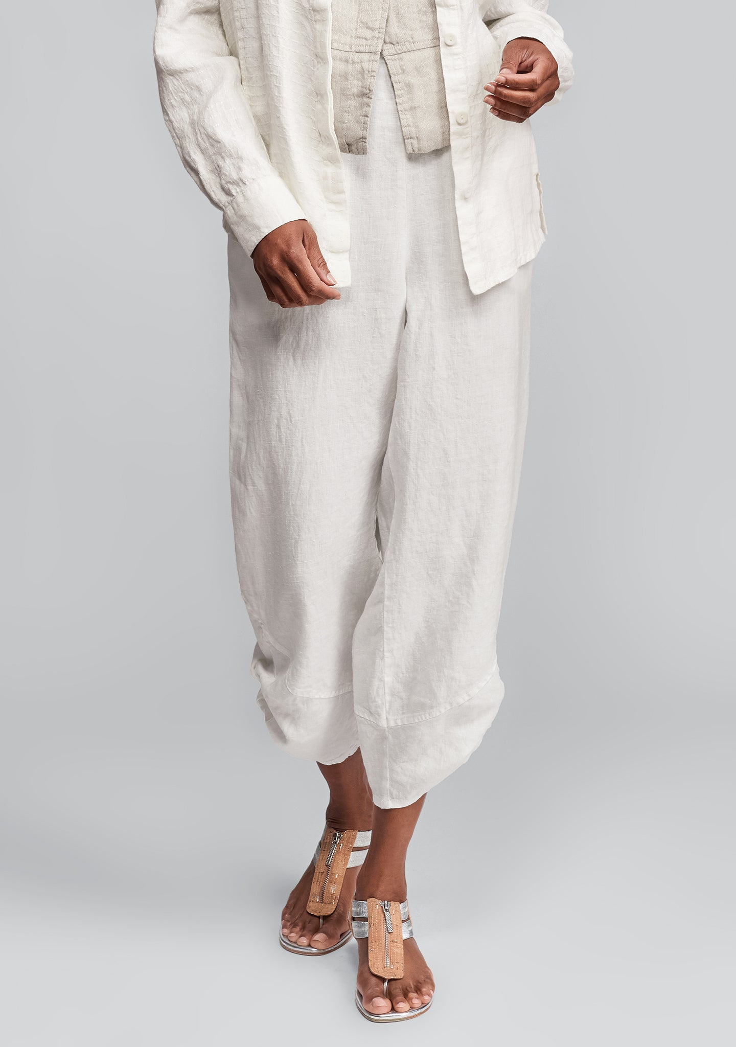 multi-facet pant linen pants white