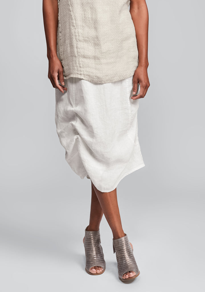 multi-facet skirt linen skirt white