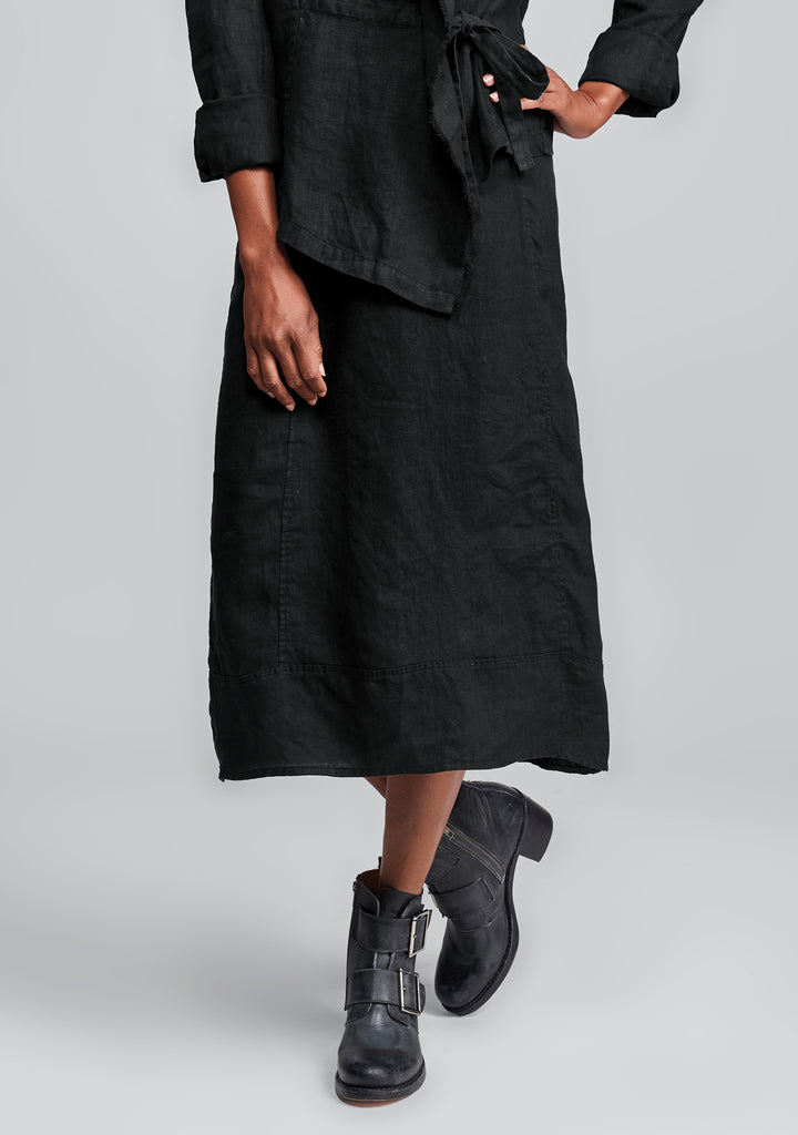 multi-facet skirt linen skirt black