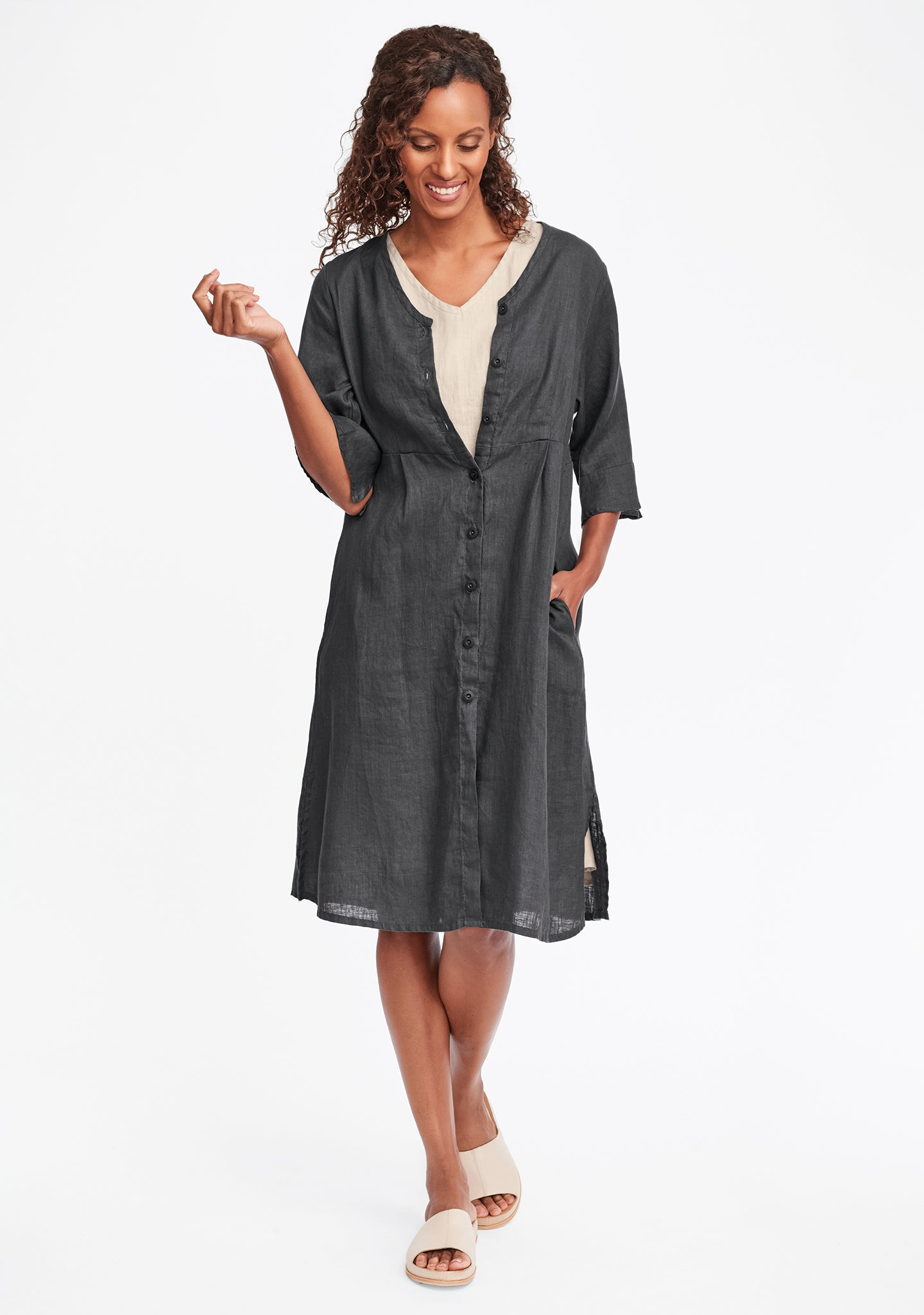 night duster linen shirt dress grey