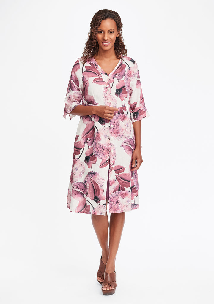 night duster linen shirt dress multi