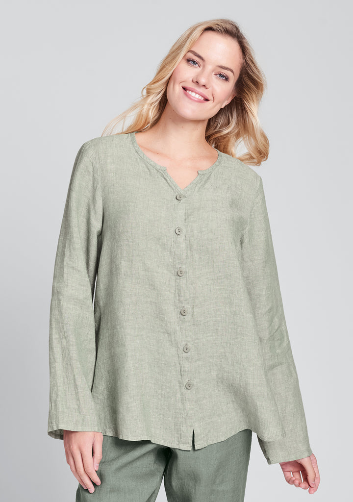 observation blouse linen button down shirt green