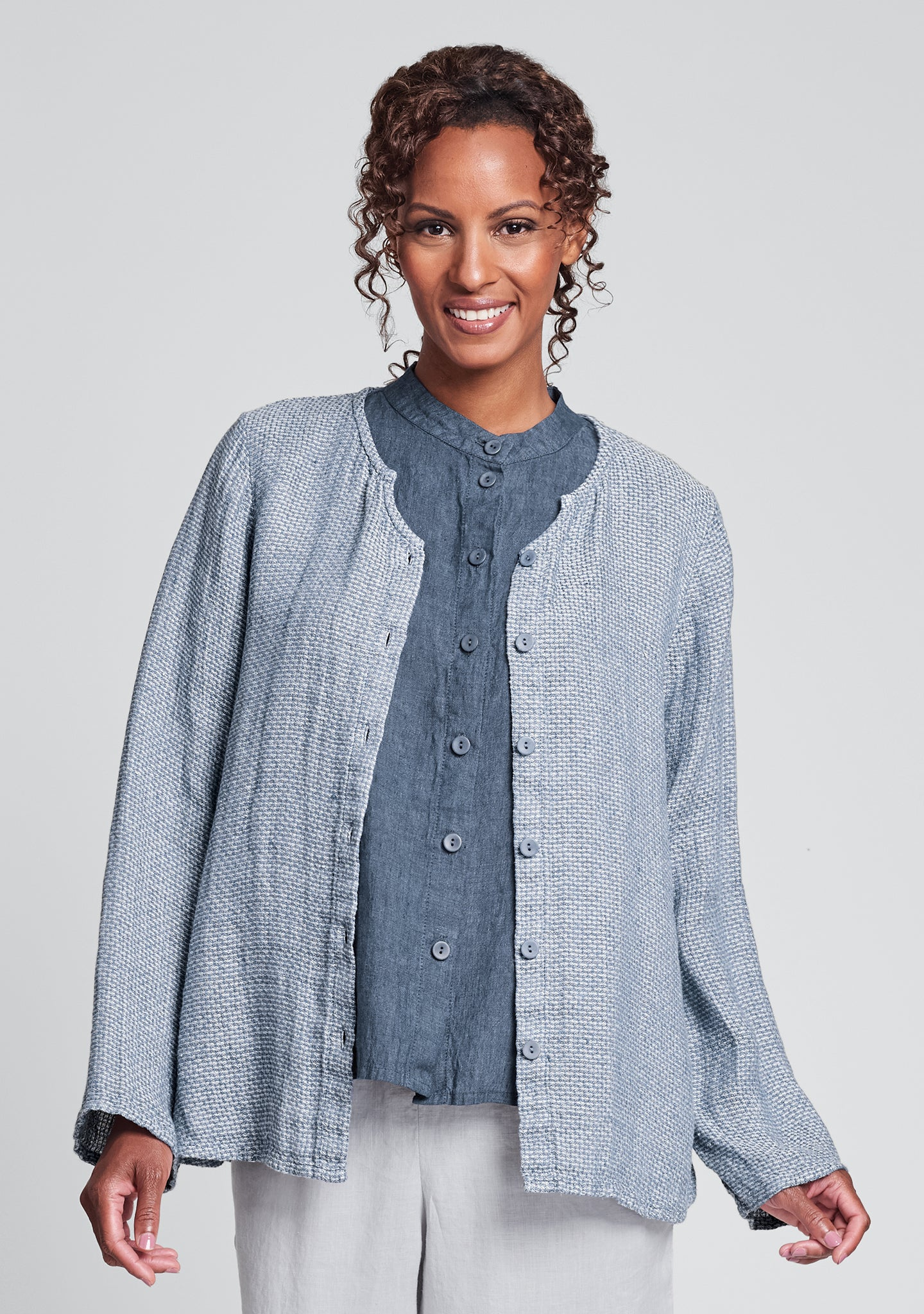 observation blouse linen button down shirt blue