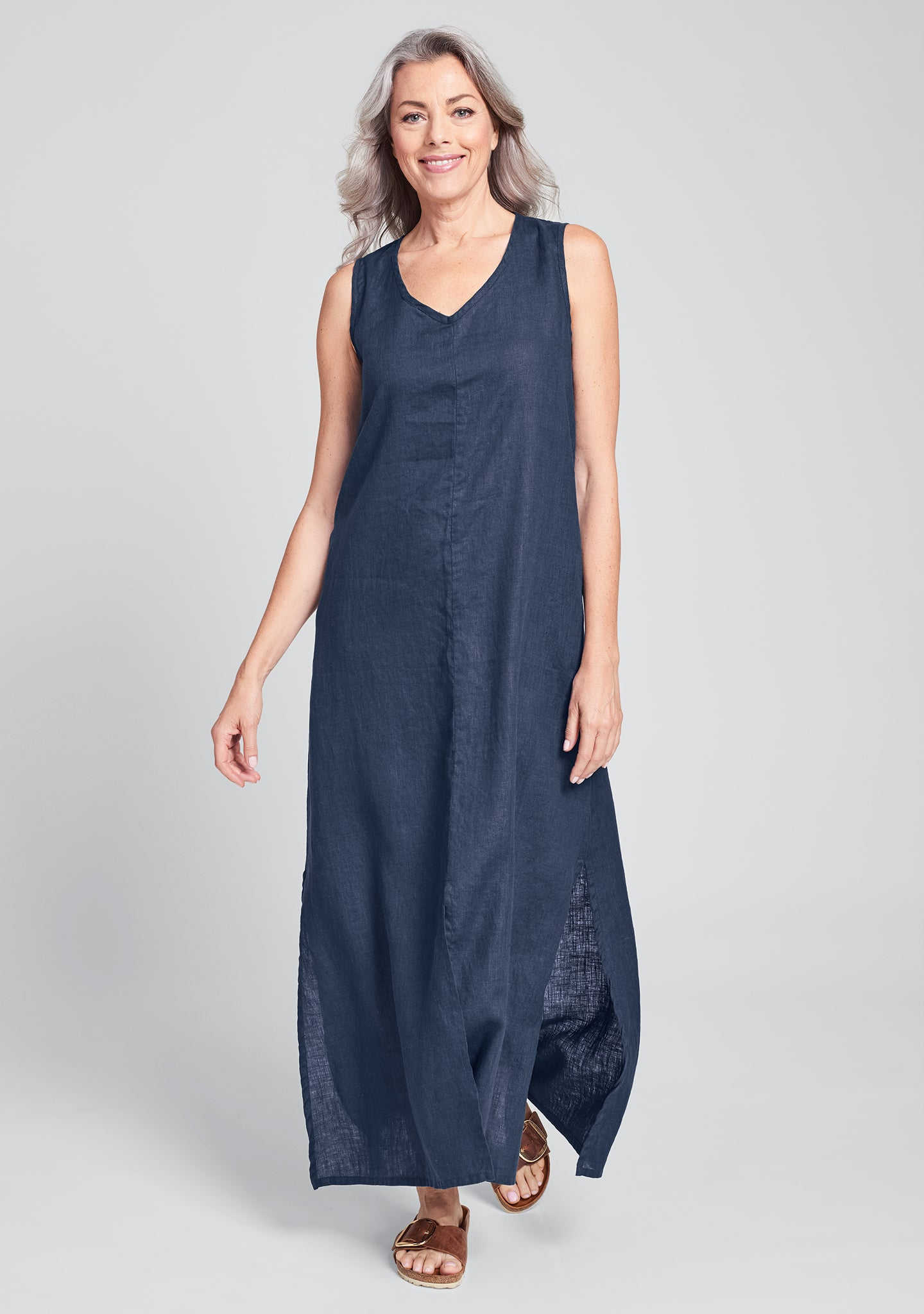 open dress linen maxi dress blue