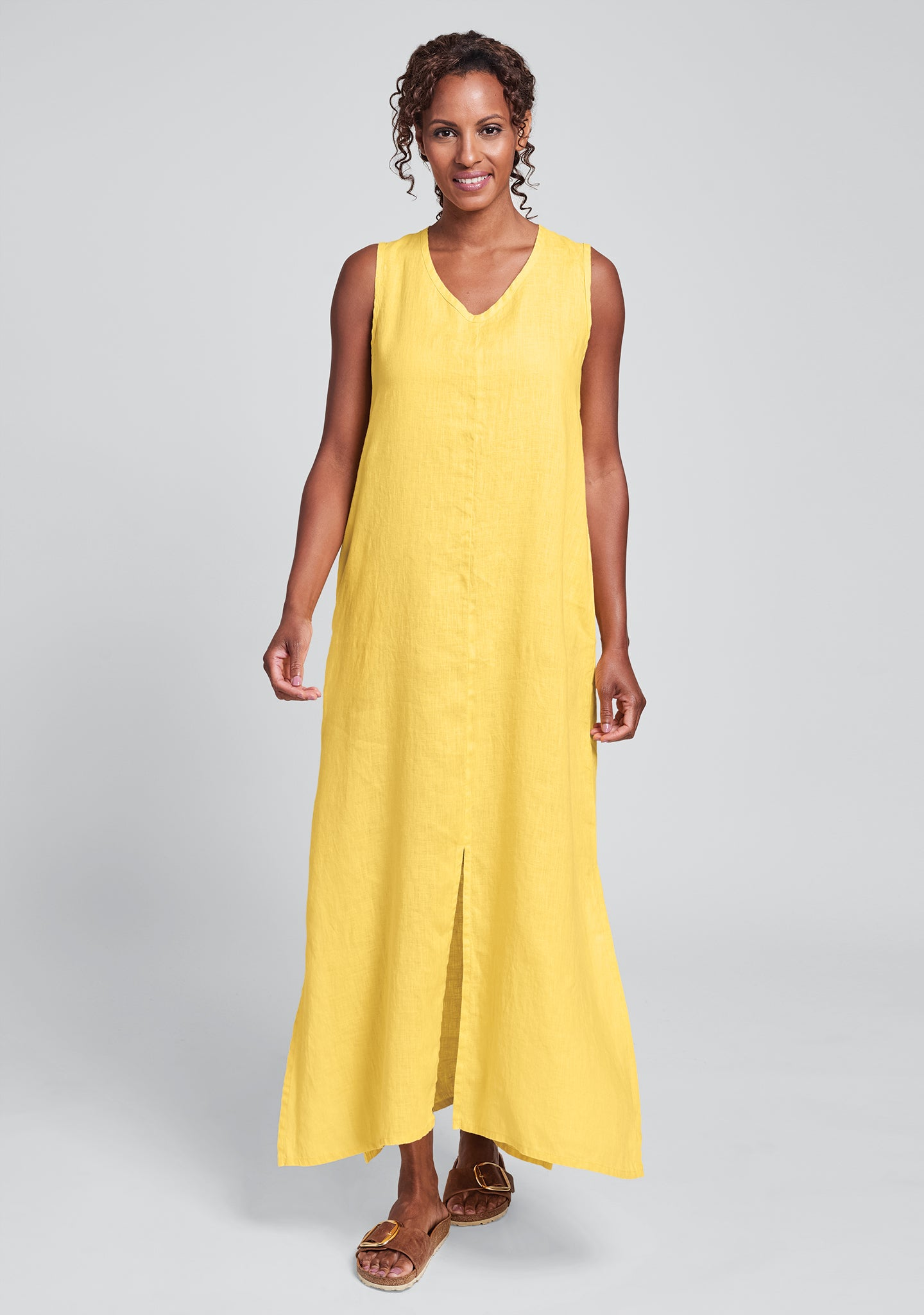 open dress linen maxi dress yellow