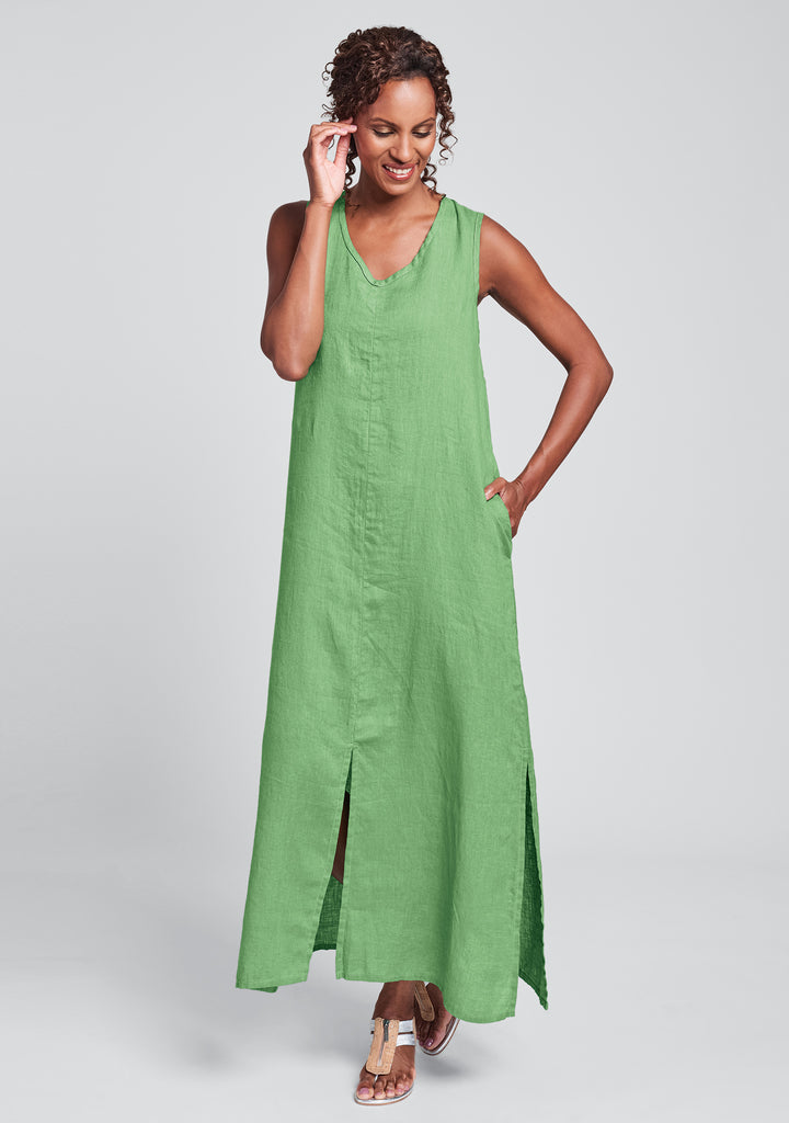 open dress linen maxi dress green