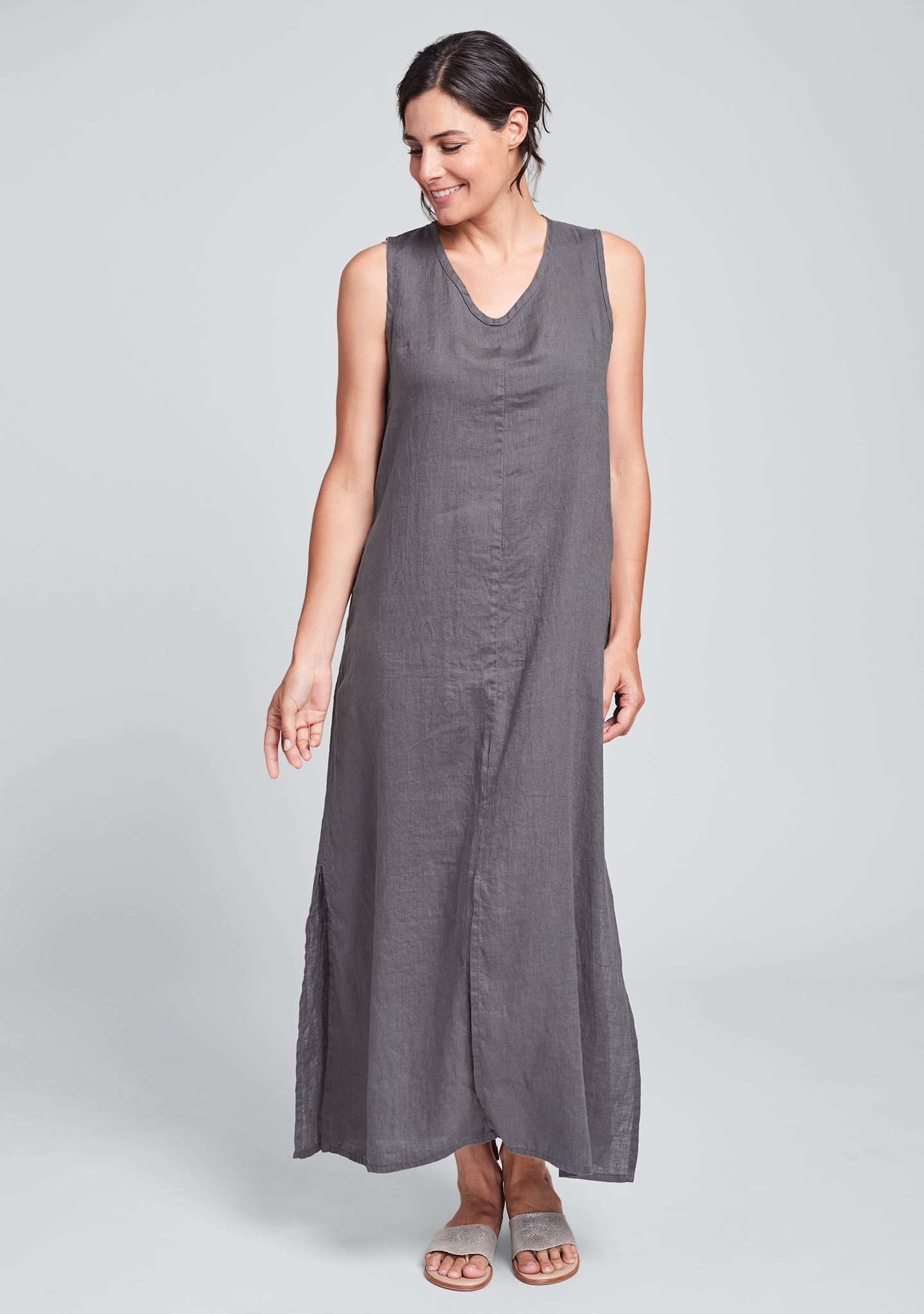 open dress linen maxi dress grey