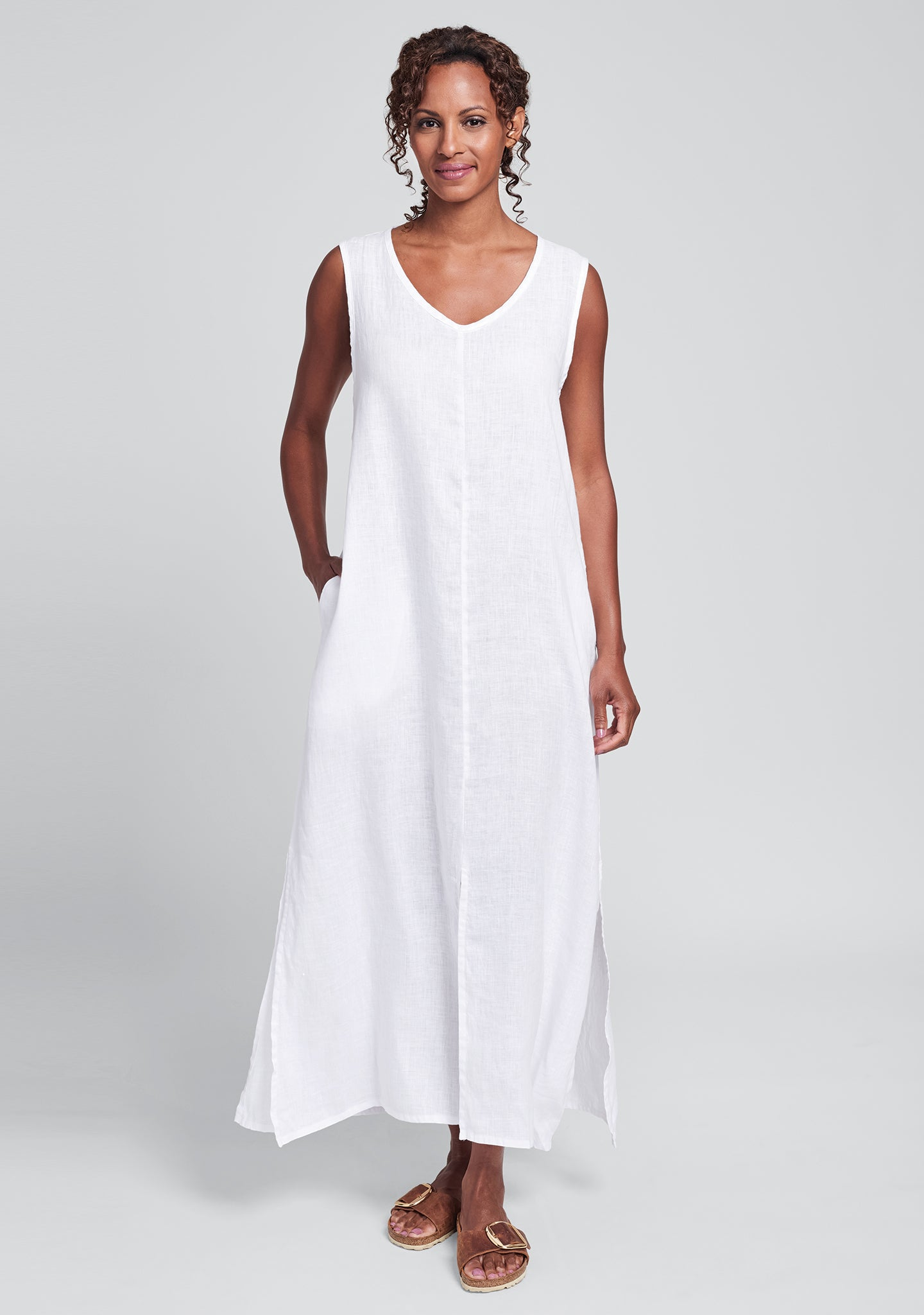 open dress linen maxi dress white