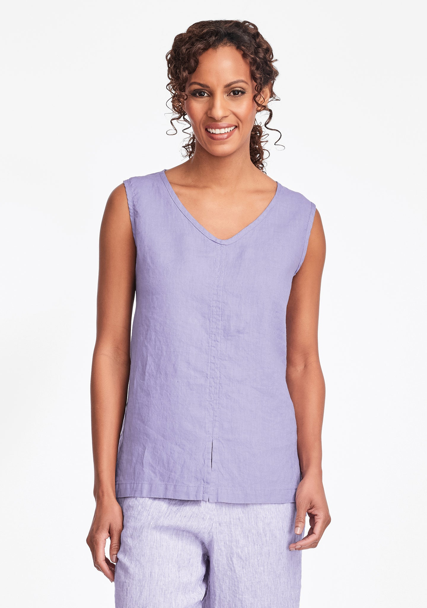 open tank linen tank top purple