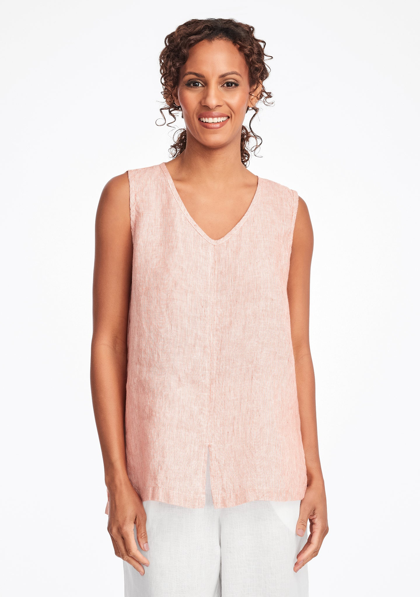 open tank linen tank top red