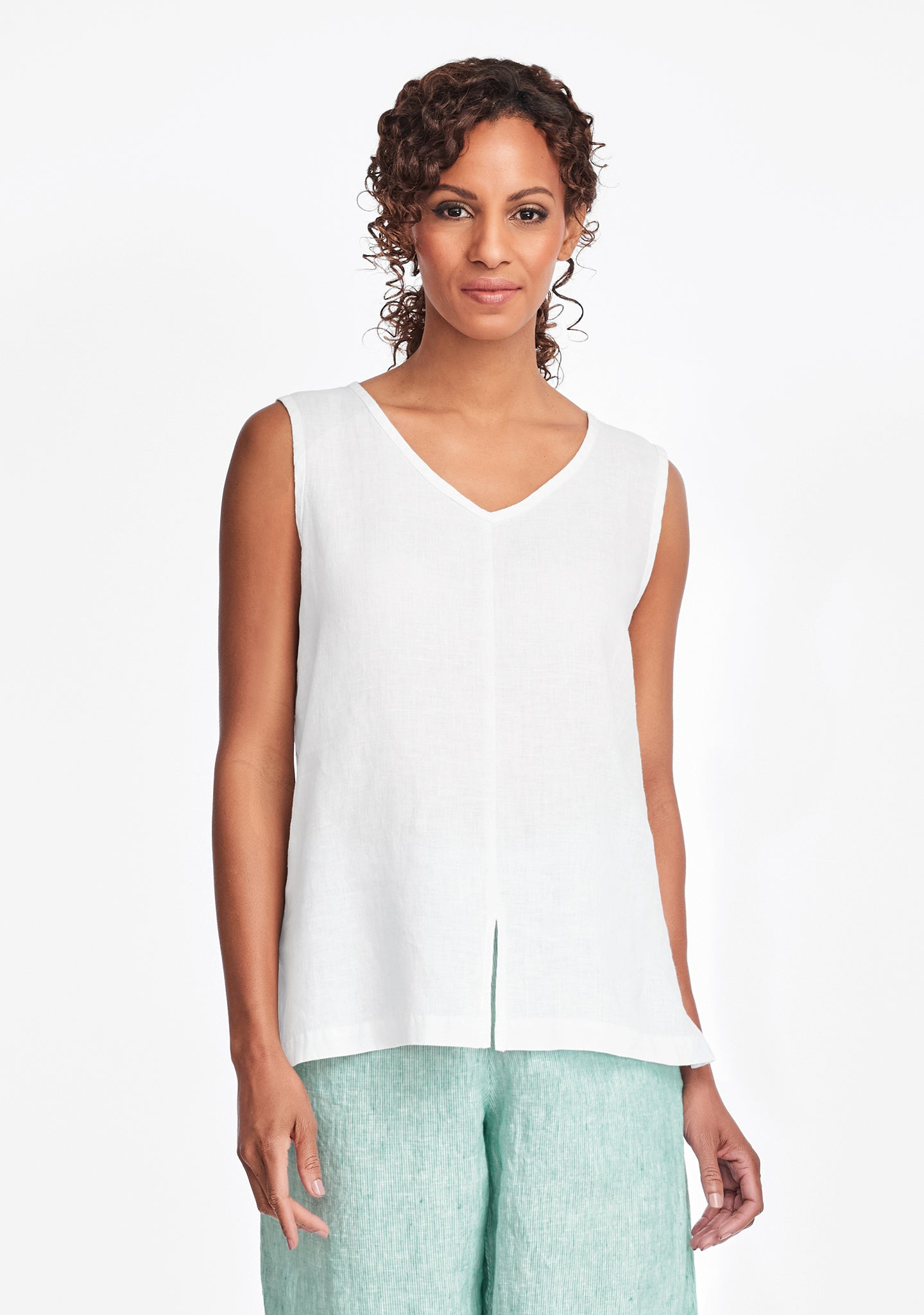 open tank linen tank top white