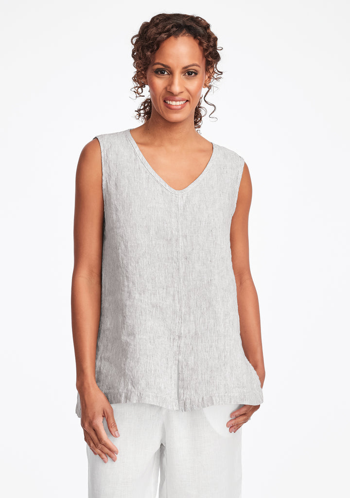 open tank linen tank top grey