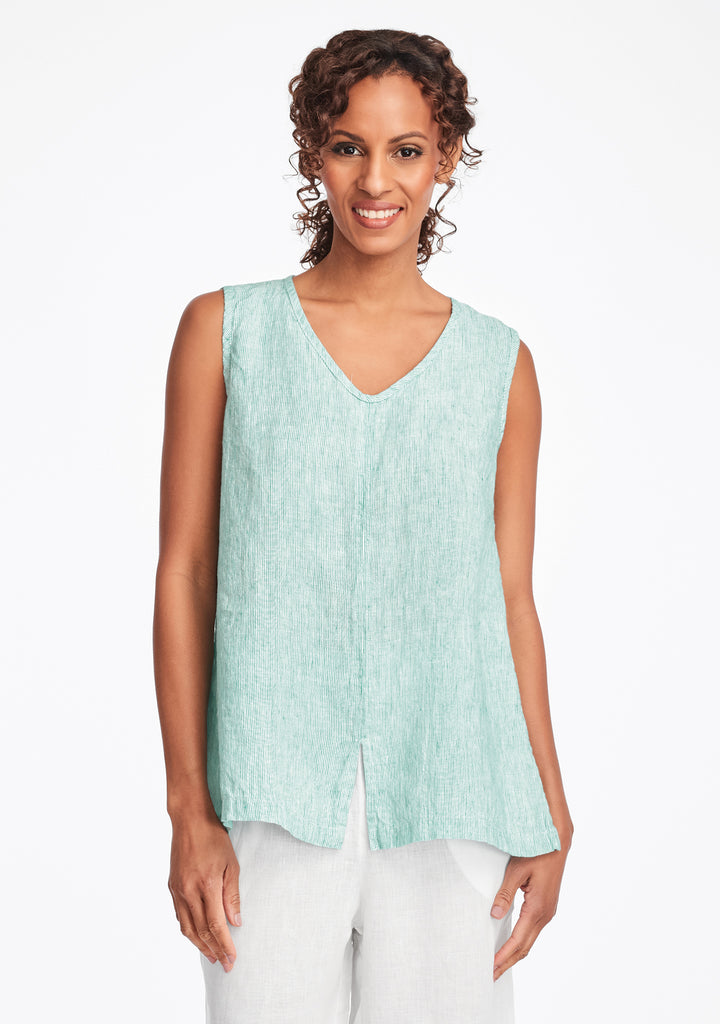 open tank linen tank top green
