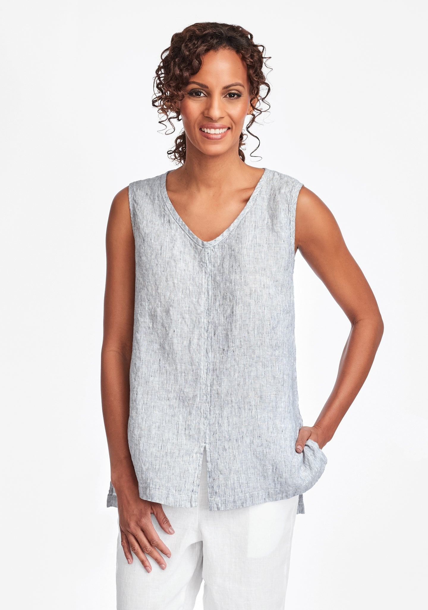 open tank linen tank top blue