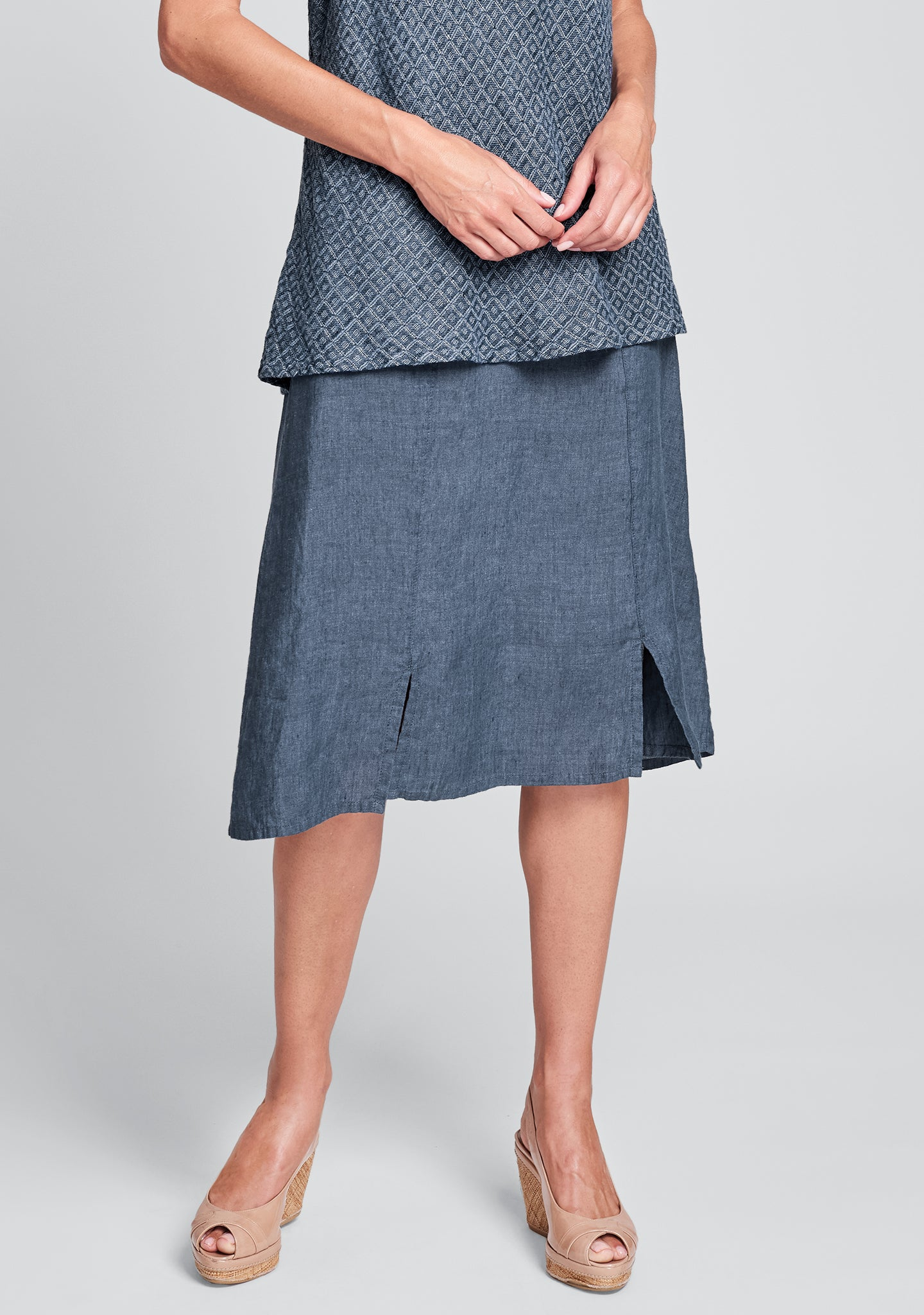 out skirt linen midi skirt blue