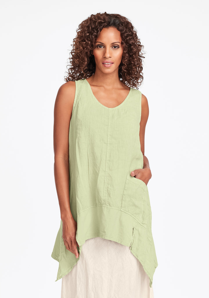 park tunic linen tank top green
