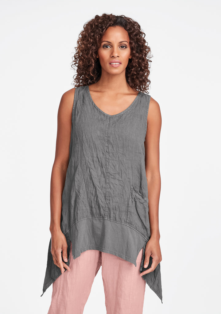 park tunic linen tank top grey